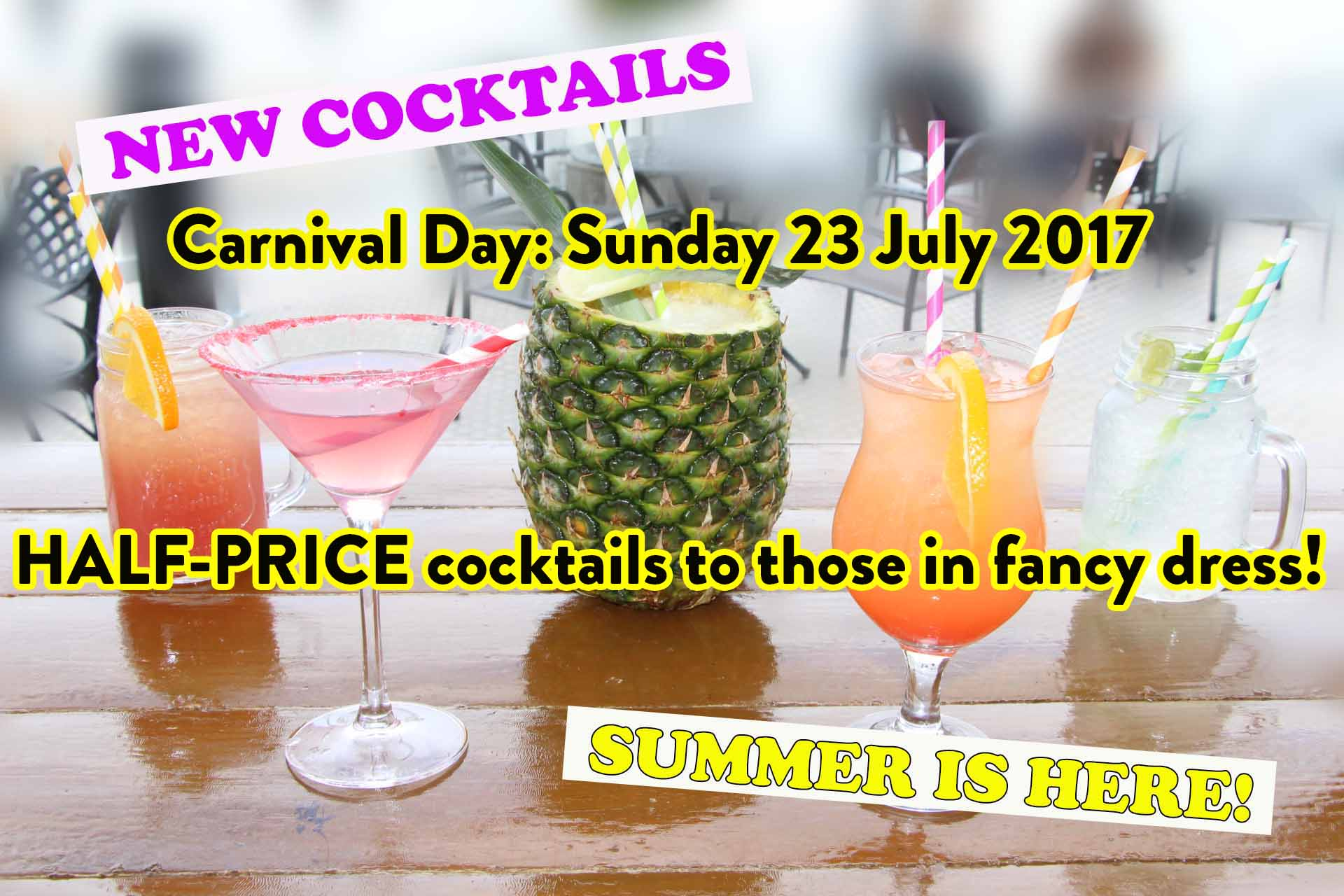 Sunday 23 July: Half-price cocktails to those in fancy dress